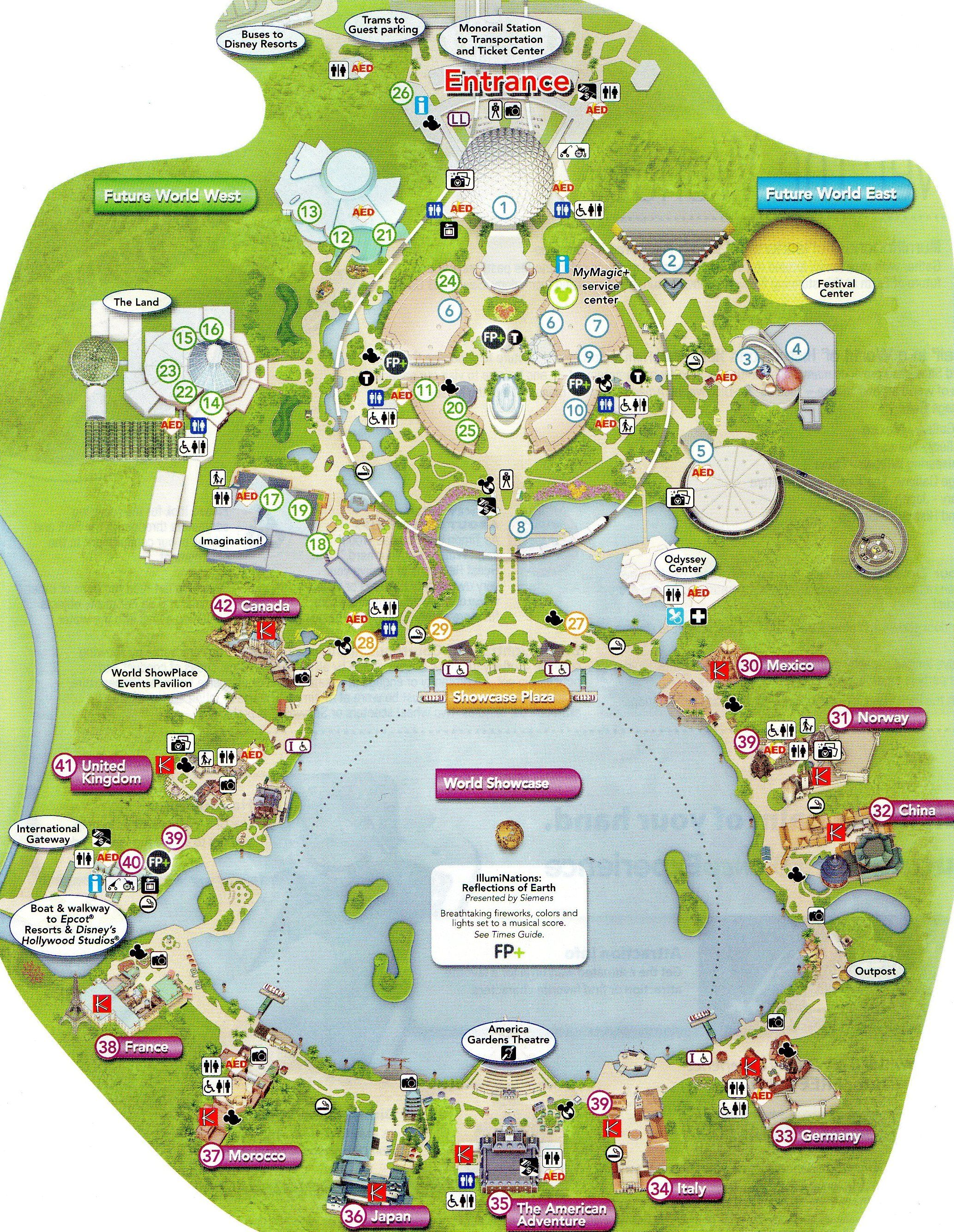 Detailed map of Epcot   WDW   Epcot map, Disney world vacation ...