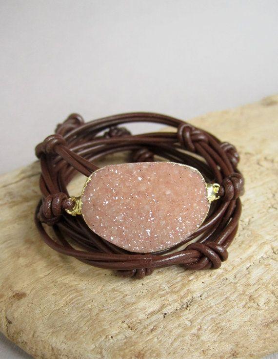 Agate Druzy Bracelet Drusy Quartz Knotted Brown by julianneblumlo, $88.00