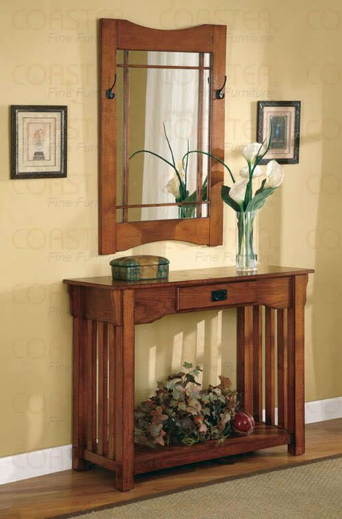 Oak Finish Mission Style Hall Table And Mirror Set By