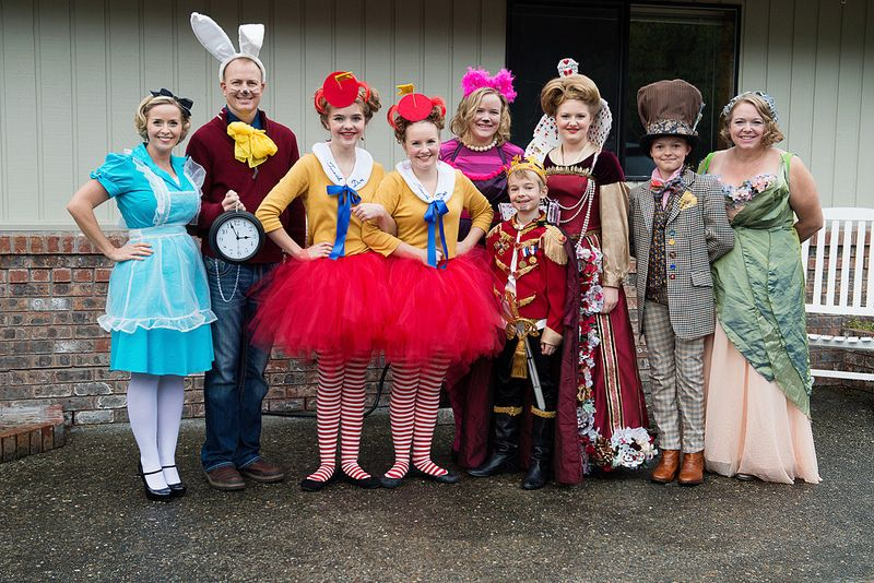Alice in Wonderland two families DIY costumes Themed
