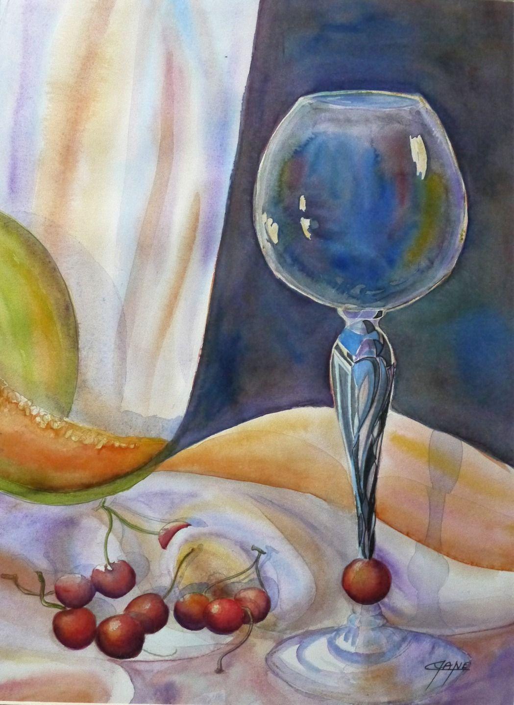 Tableau Art Contemporain Peinture Aquarelle Nature Morte M Dianoche Verre Melon Cerises