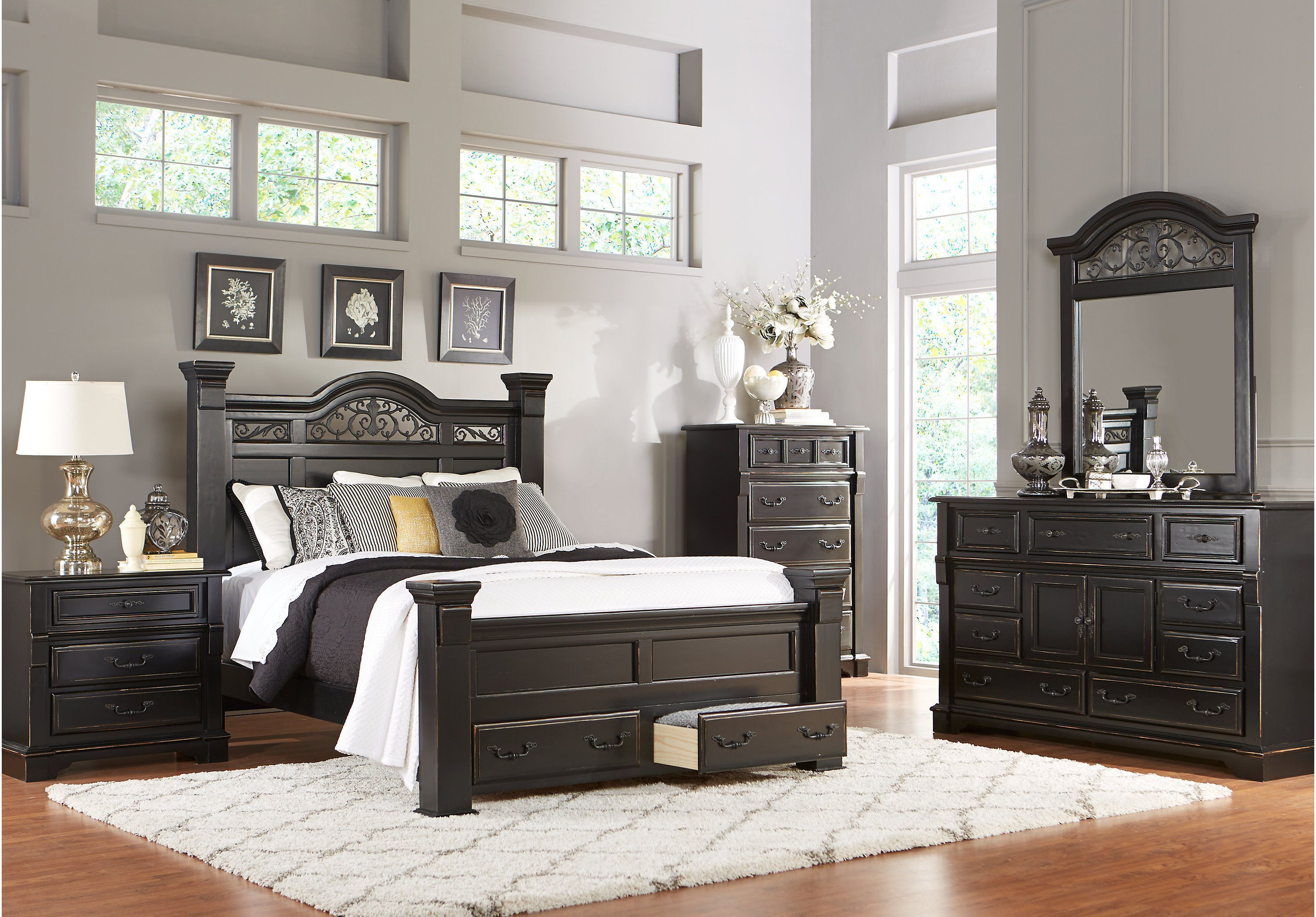 Picture Of Merrifield Ebony 5 Pc King Storage Bedroom From