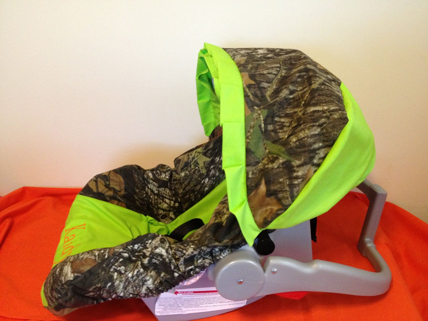 Mossy Oak Camo With Lime Green And Deer Infant Car Seat