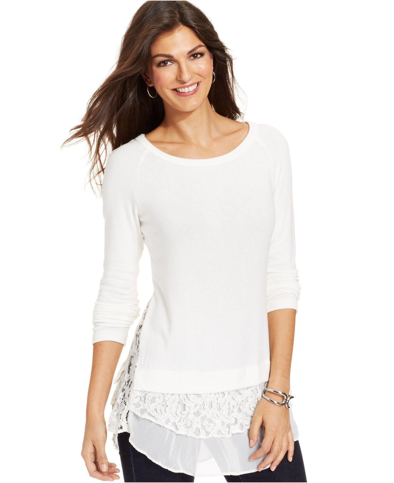 b017f9f689d Karen Kane Long Sleeve White Layered Lace Hem Sweater - Tops - Women -  Macy s  Karen Kane  Fashion  Macys