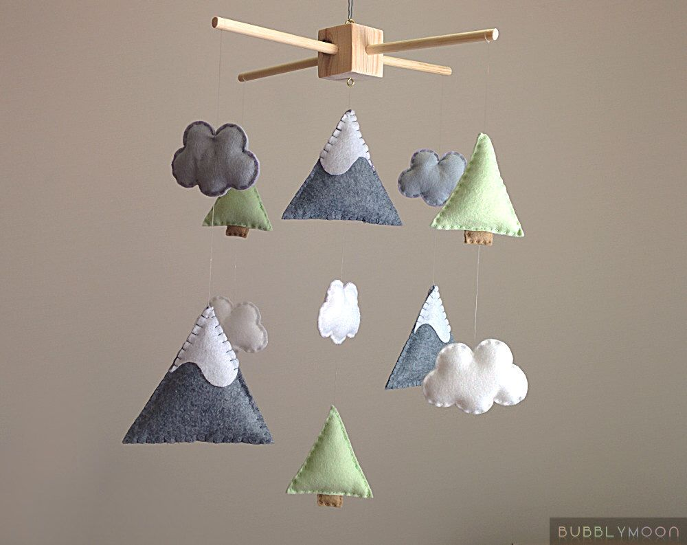 Mountains Baby Mobile Modern Nursery Decor Trees Clouds