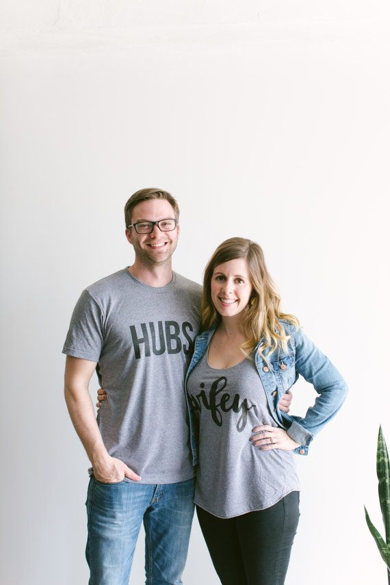 Hubs & Wifey T-shirts SET of 2 Sold Together • Matching Husband and Wife Adult Shirt Set • Super Soft Matching Gray Tees • FREE SHIPPING tUCGUX