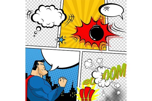 Vector Retro Comic Book Template By Things For Designers On