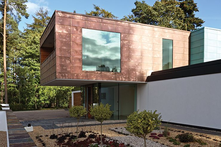 Contemporary home with copper cladding house pinterest for Modern house cladding