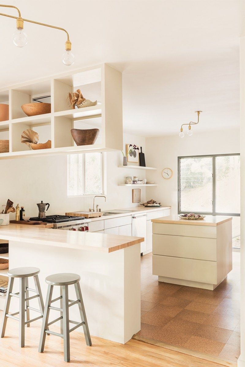 Inside A Portland Maine Townhouse Where Vintage Furniture In 2020 Off White Kitchens Off White Kitchen Cabinets Minimalist Kitchen Design