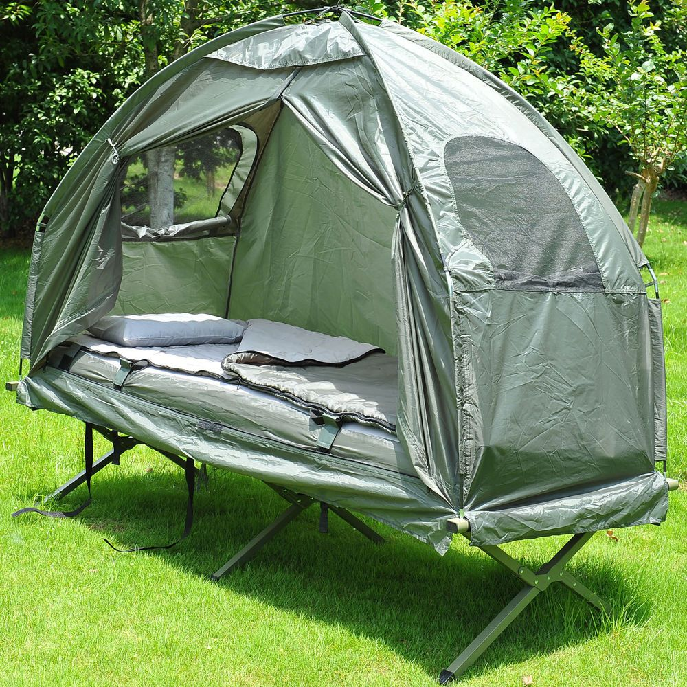 outdoor 1 person folding tent elevated camping cot w air mattress