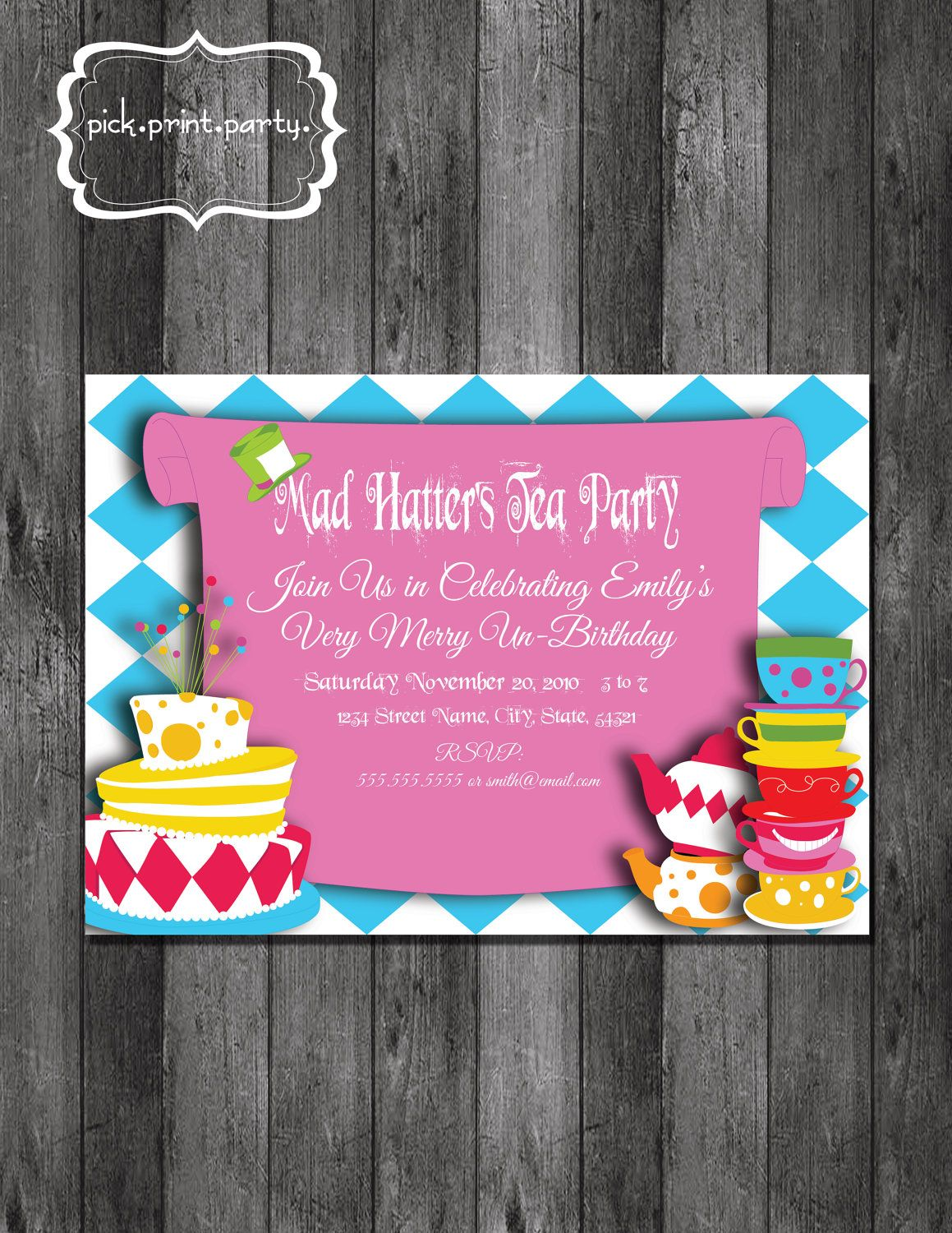 Alice in Wonderland Mad Hatter Tea Party Theme Party Invitation ...