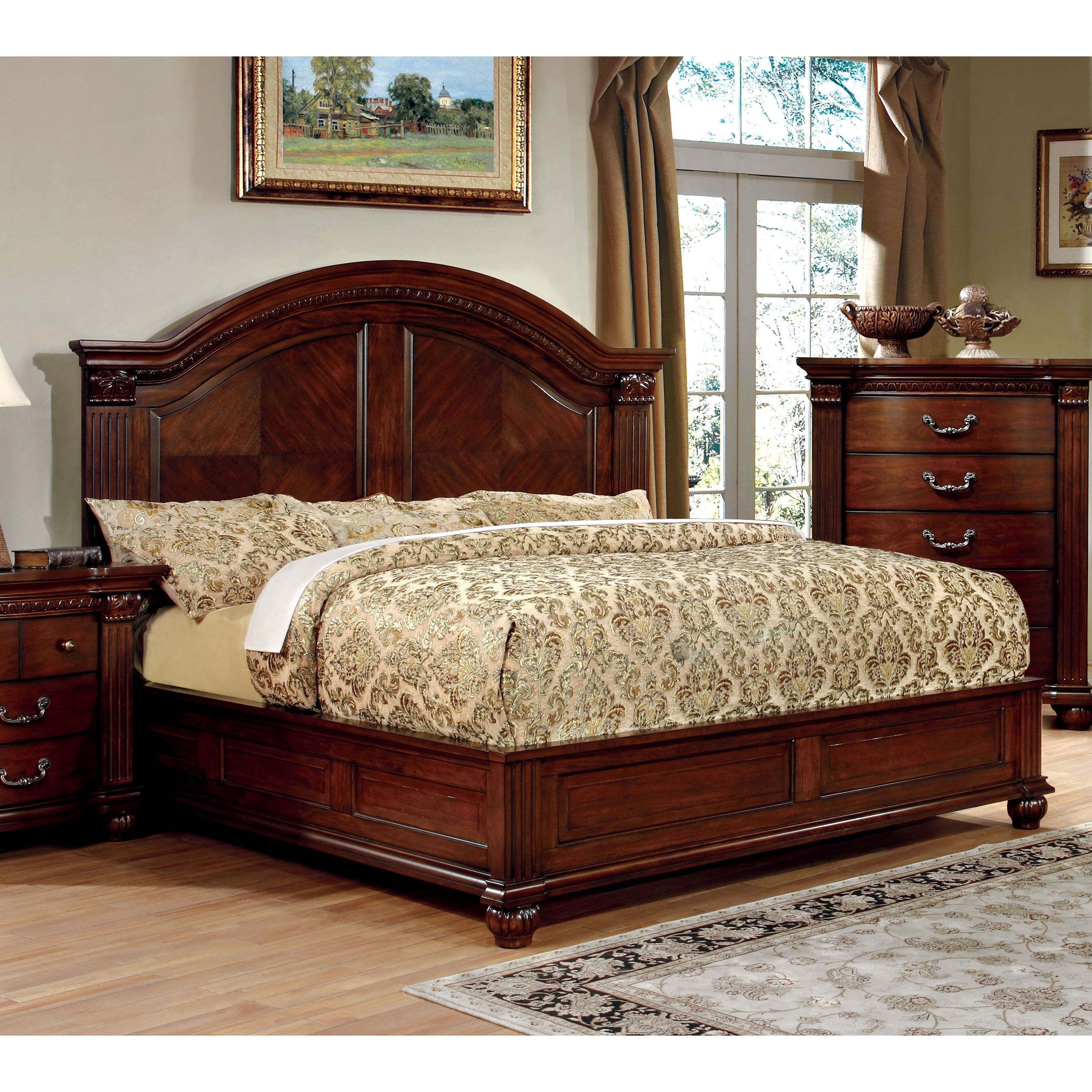 Furniture of America Vayne I Traditional Cherry Platform Bed  Cal  King    Brown. Furniture of America Vayne I Traditional Cherry Platform Bed