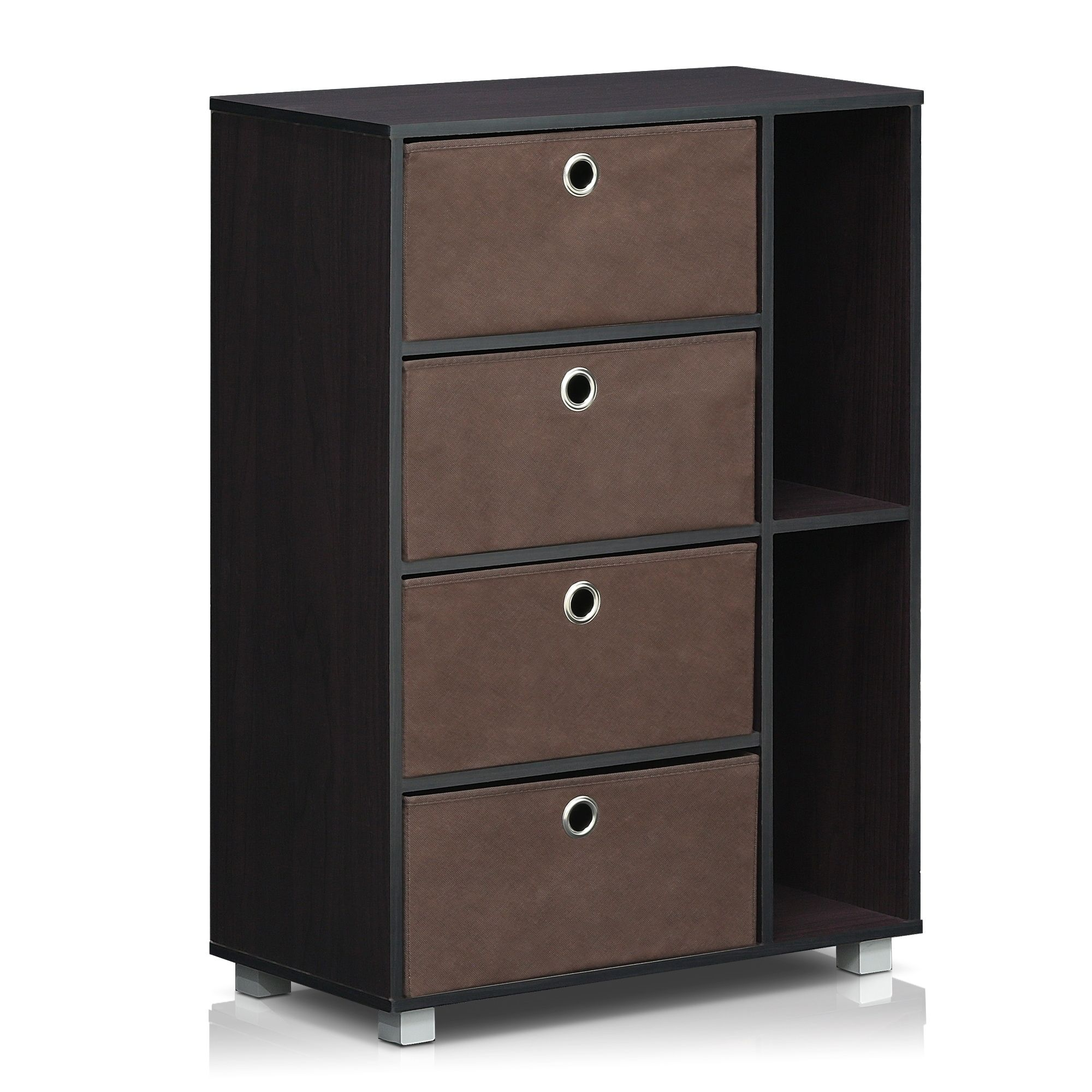 Furinno Espresso Brown Multi purpose 4 Bin type Drawer Storage