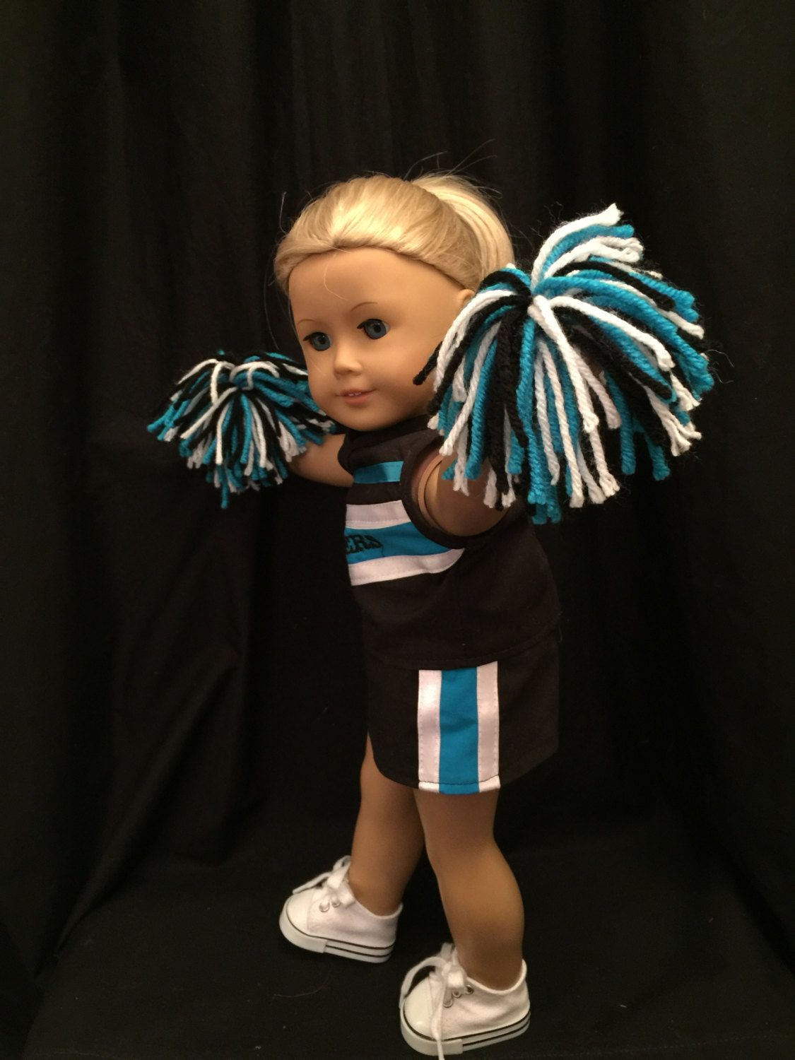 Homemade 18 Inch Doll Panthers Cheerleading Outfit Includes Top, Skirt, Panties, Hair Bow And Pompoms Made From Jelly Bean Soup Pattern #18inchcheerleaderclothes