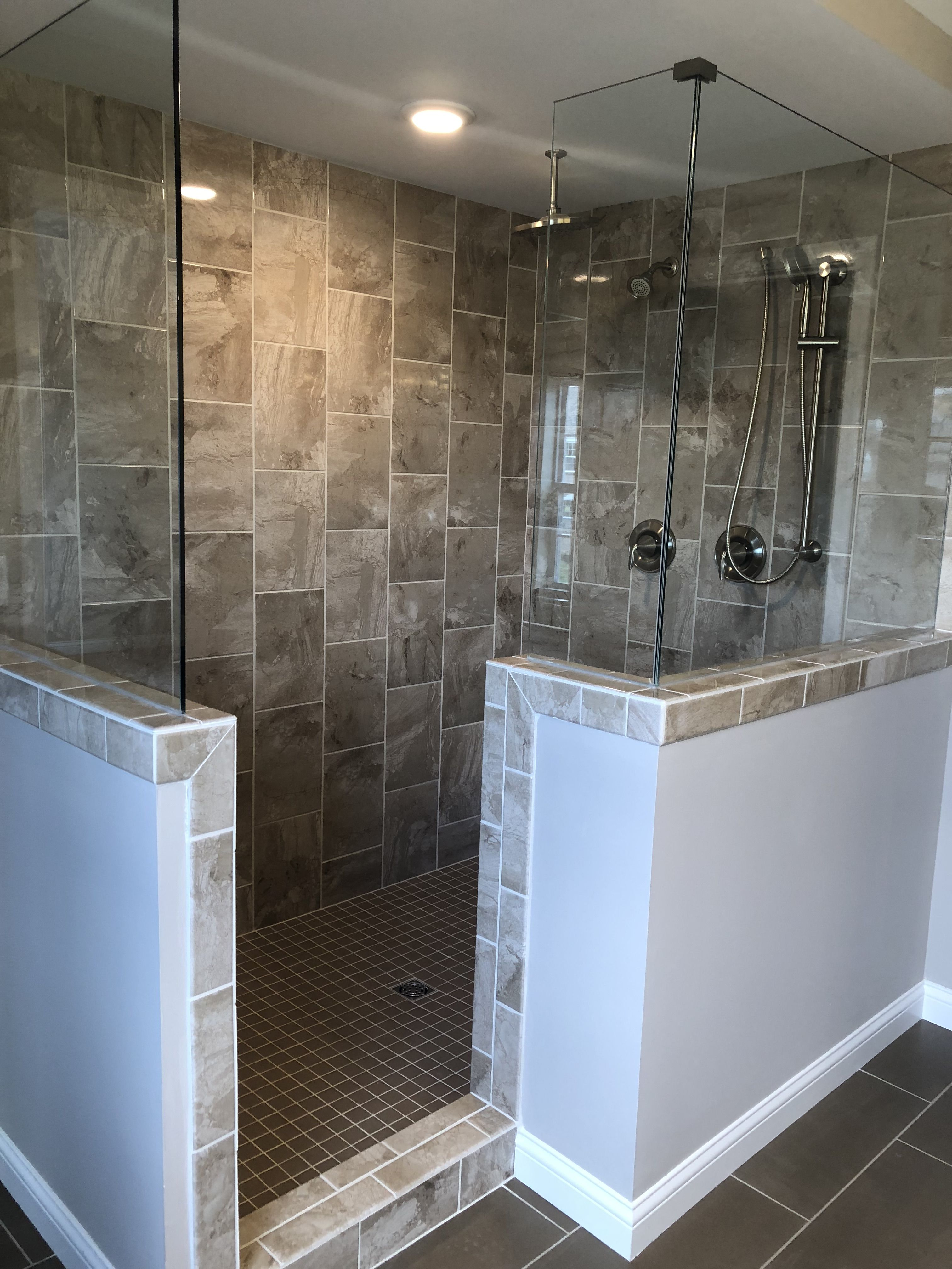 Marble Falls 10x14 Highland Beige Wall Tile Installed Vertical Brick Joint In A Garden Shower Bath Tiles Shower Tile Garden Shower