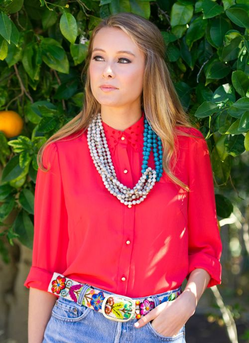 the new wildflower belt goes with everything and I love the unique, unpredictable necklace!  #noondaystyle