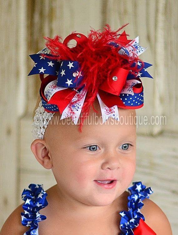 Loopy hairbow white and blue headband patriotic headband Red 4th of july headband toddler headband infant headband