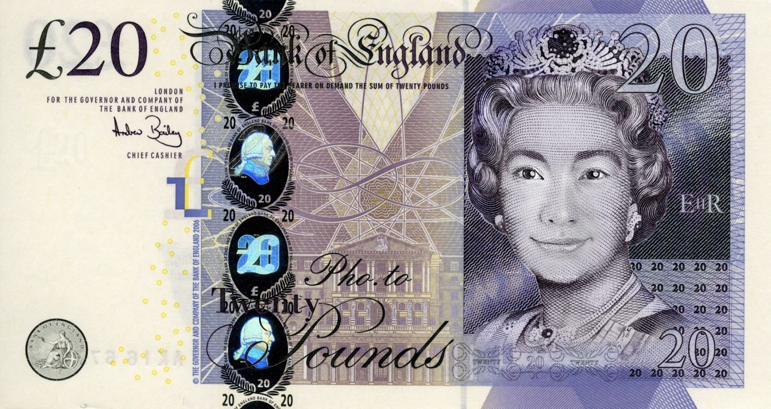 Your portrait on a 20 template money currency bills coins become a new queen in britains note in a click upload your face photo into a template and get the british currency of your own edition pronofoot35fo Choice Image