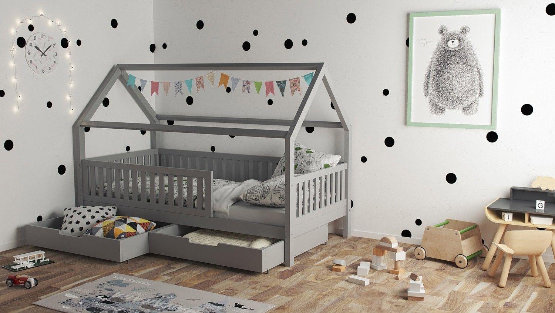 Nature Kid Hausbett Lilly Grau Kiefer Massiv Wallenfels Onlineshop Kinderbett Haus Kleinkind Zimmer Hausbett