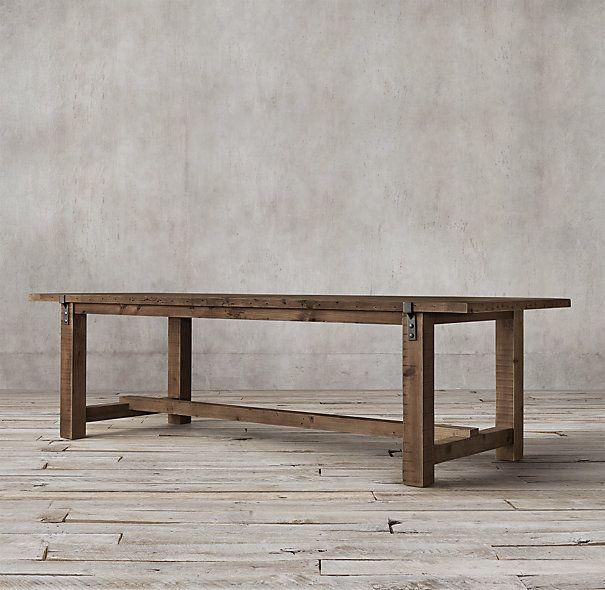 Reclaimed Wood Zinc Strap Dining Table Restoration Hardware