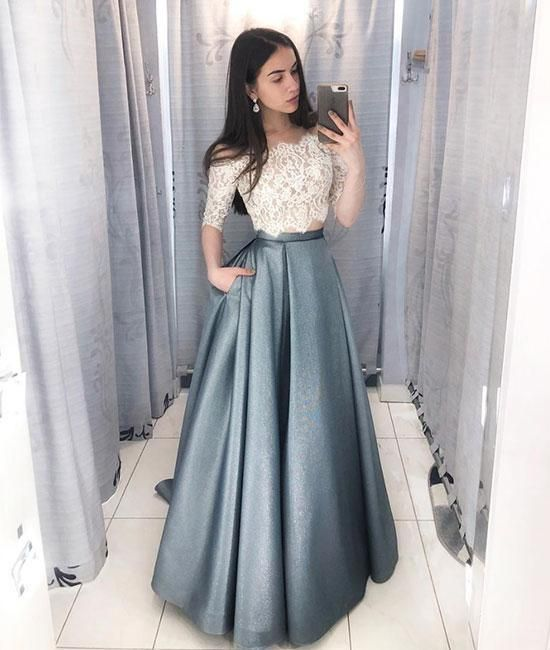 Unique Two Piece Lace Prom Dress,Half Sleeves Evening Dresses,Party Dress New Style Evening Dress