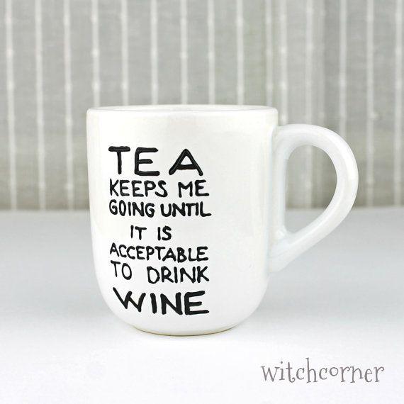 hand painted porcelain cup tea mug gift idea for tea lovers wine lovers