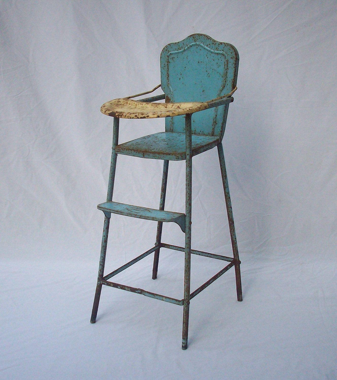 Antique Wooden High Chair 1930s