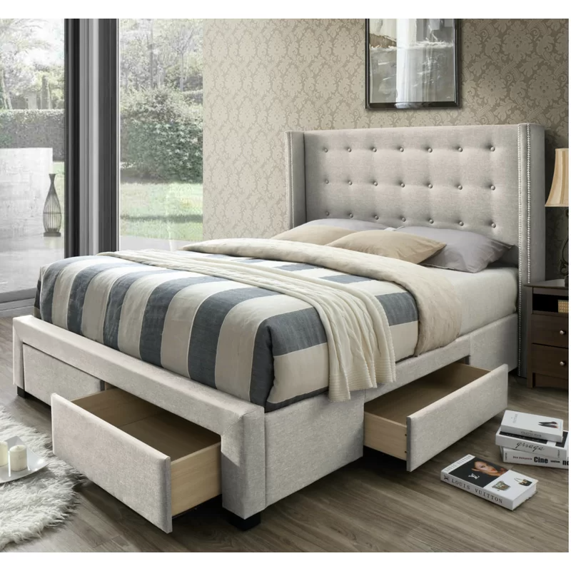 Brianne Upholstered Storage Panel Bed In 2020 Best Storage Beds Upholstered Storage Bed Storage