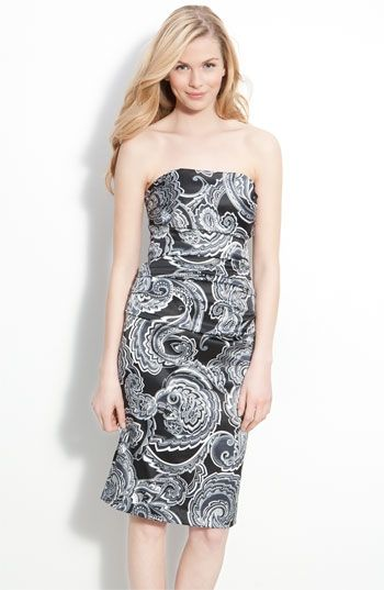 Suzi Chin for Maggy Boutique Strapless Satin Sheath Dress ... c5079a415
