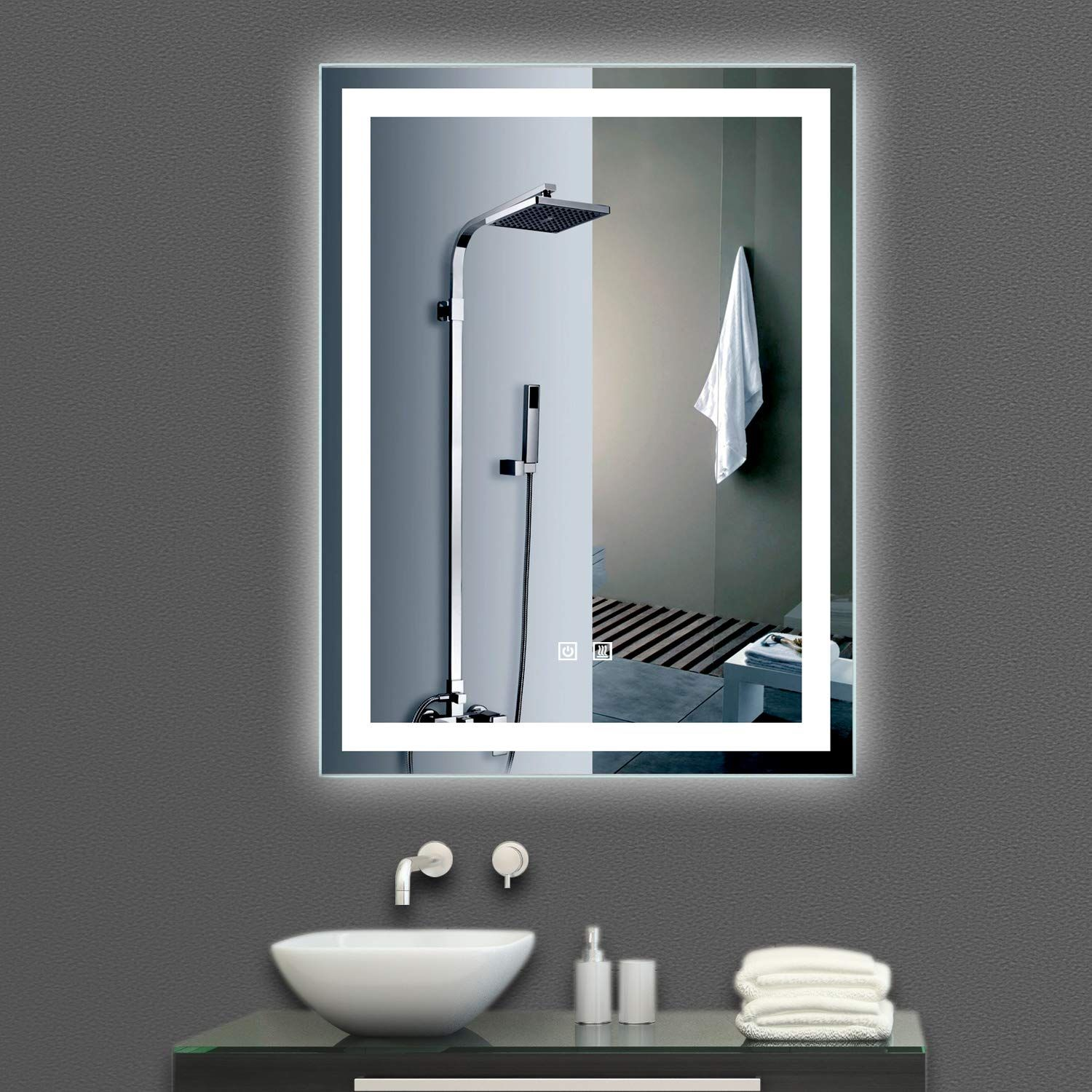 Interactive bathroom mirror window razor blade