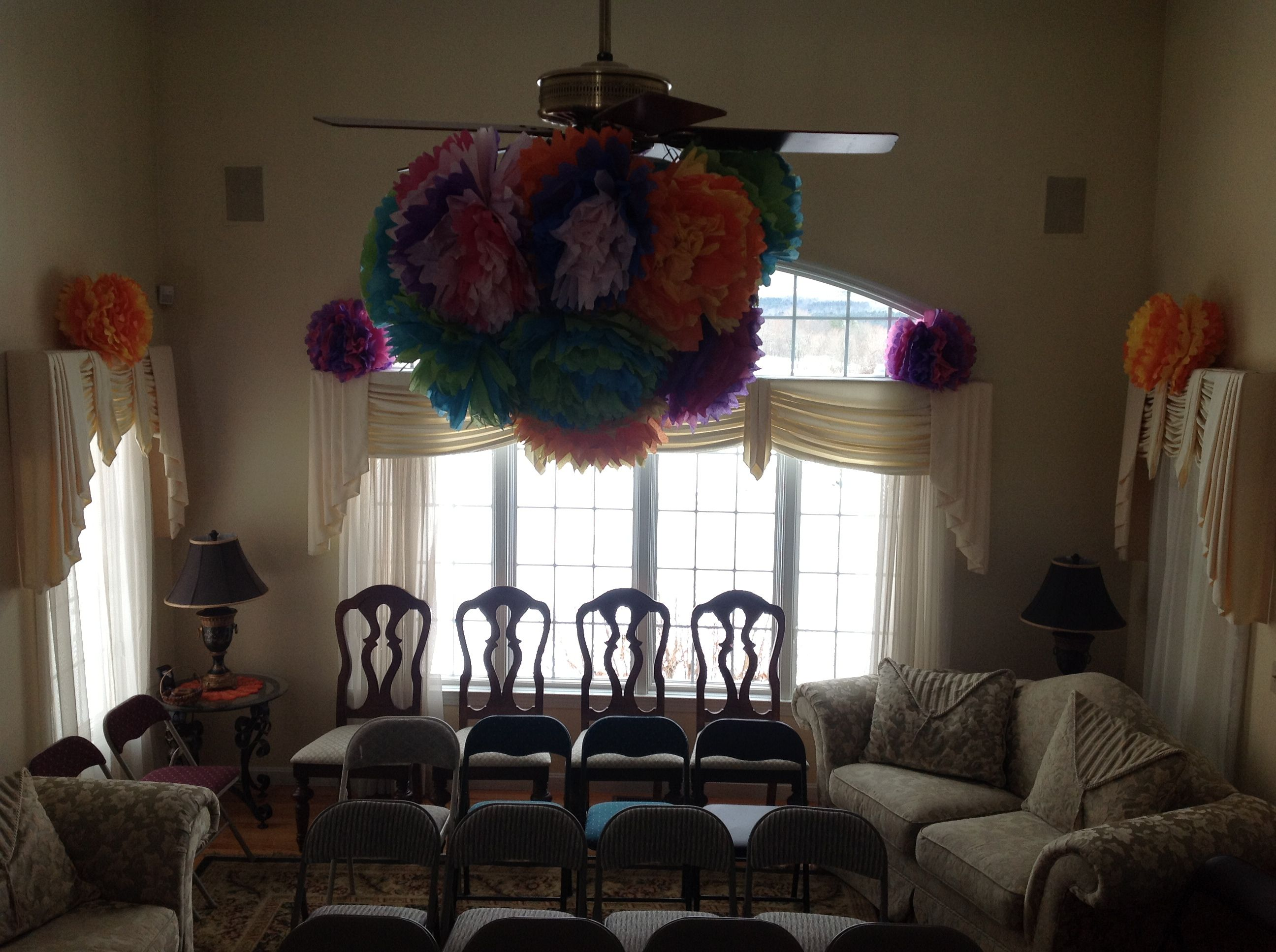 Hang Tissue Paper Flowers From The Ceiling Fan Alice In Wonderland
