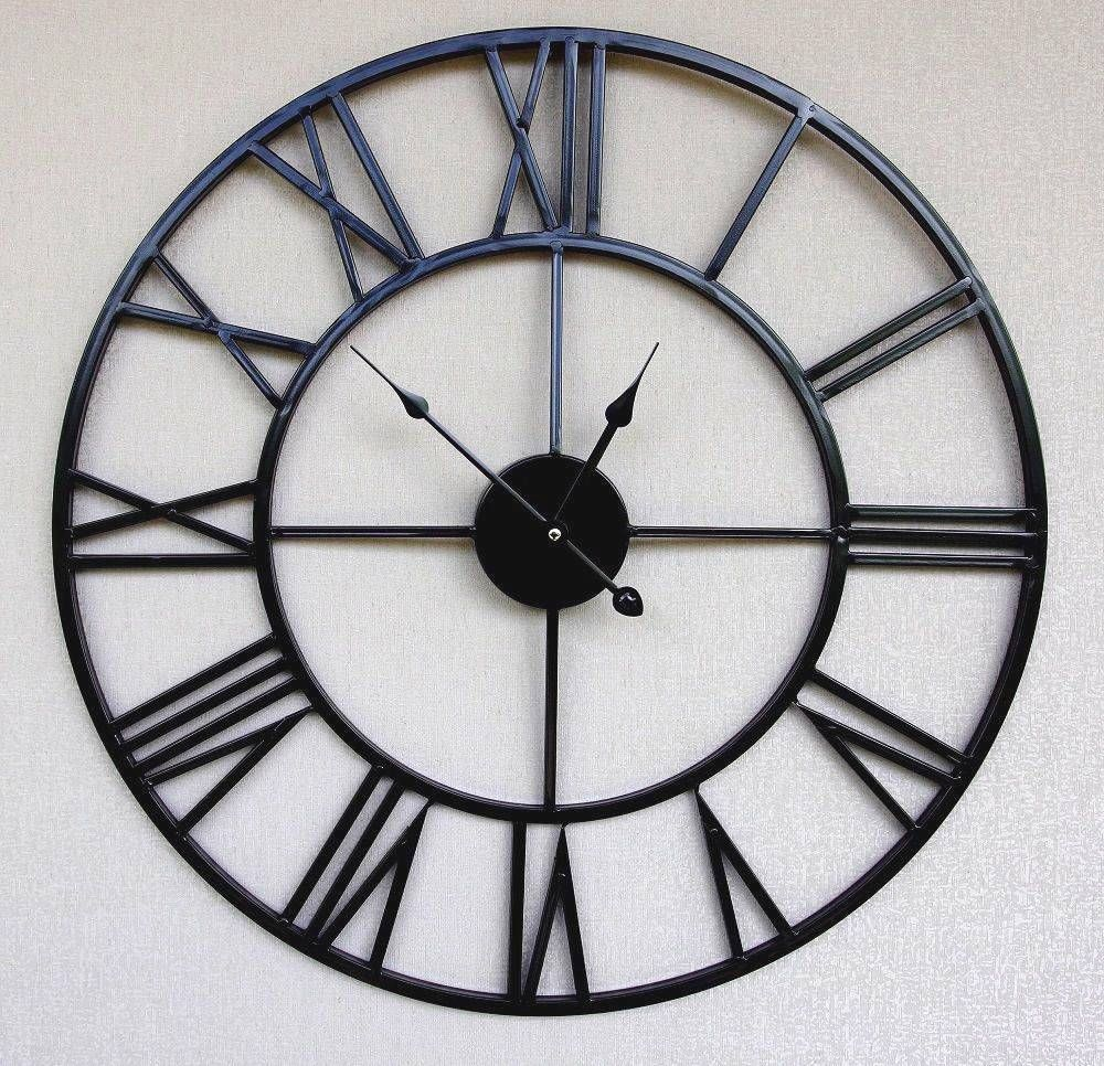 Black metal retro chic large wall clock with roman numerals our lovely selection of wall clock - Large roman numeral wall clocks ...