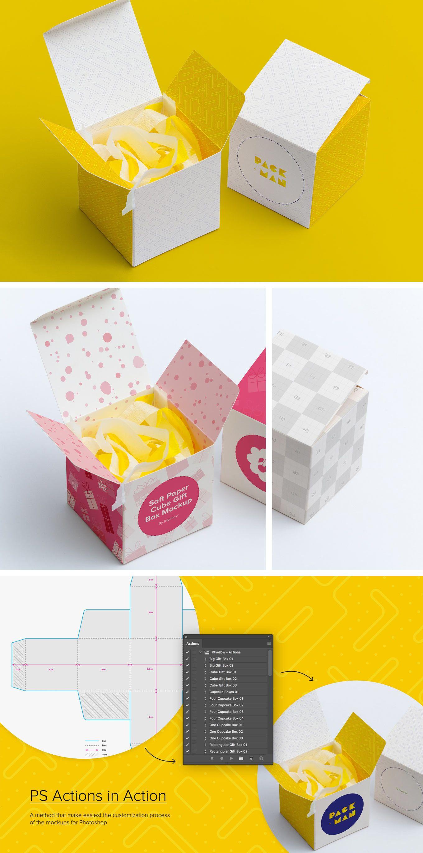 Download Paper Box Mockups Set Paper Cube Paper Gift Box Box Mockup