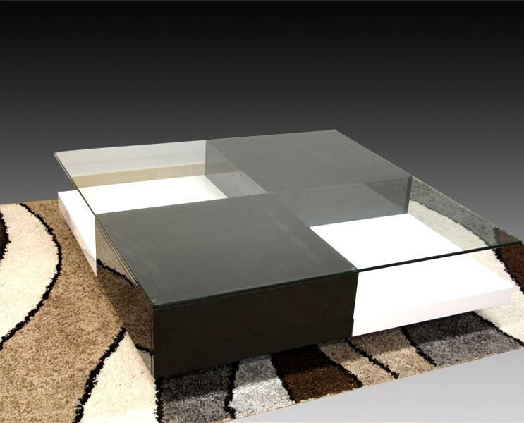 chessa coffee table 100cm square glass top with shelf & drawers