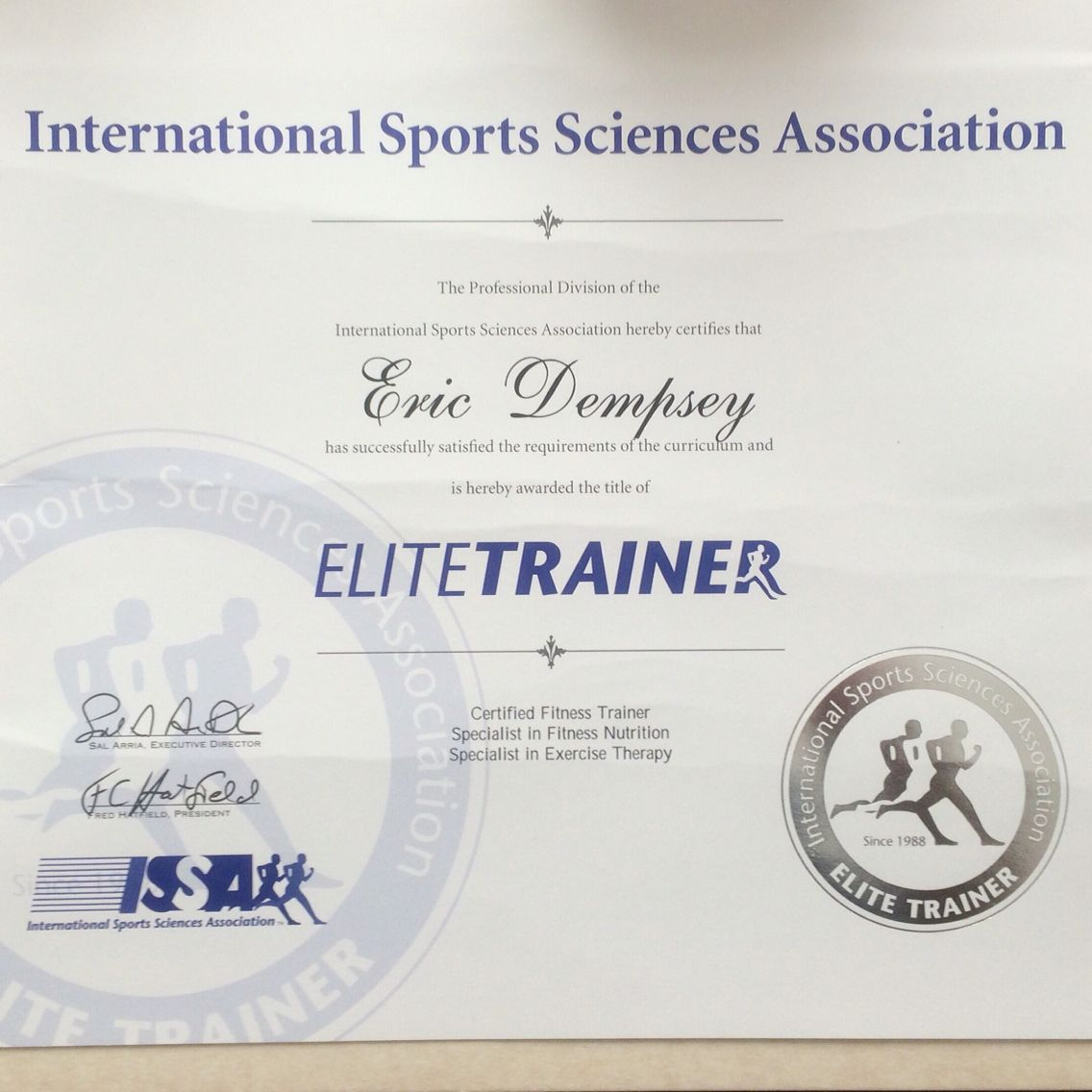 ISSA Elite Trainer Complete. This Designation Is Earned By