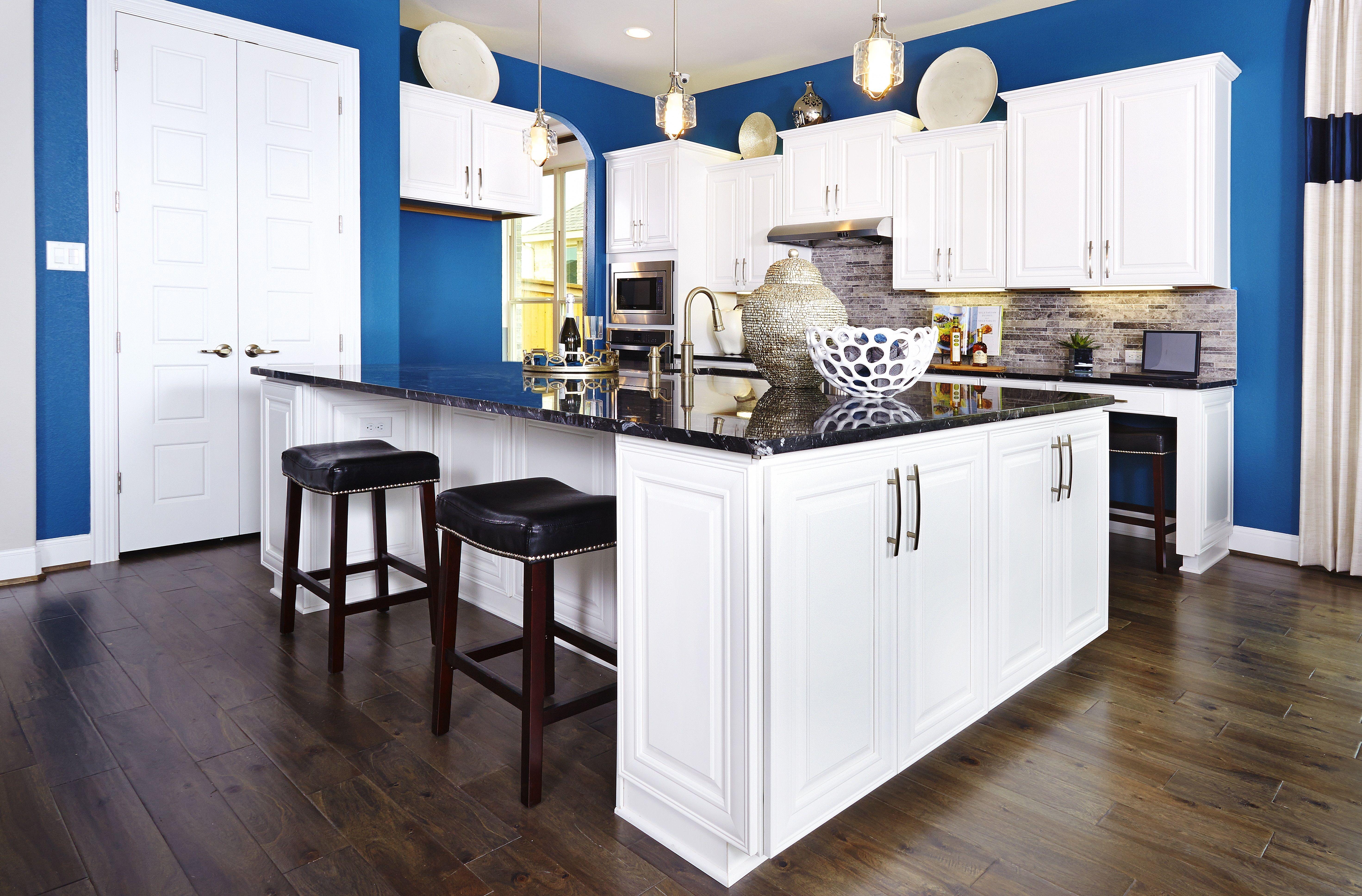Gehan Homes Kitchen - Gray Glass Tile Backsplash, White Cabinets ...