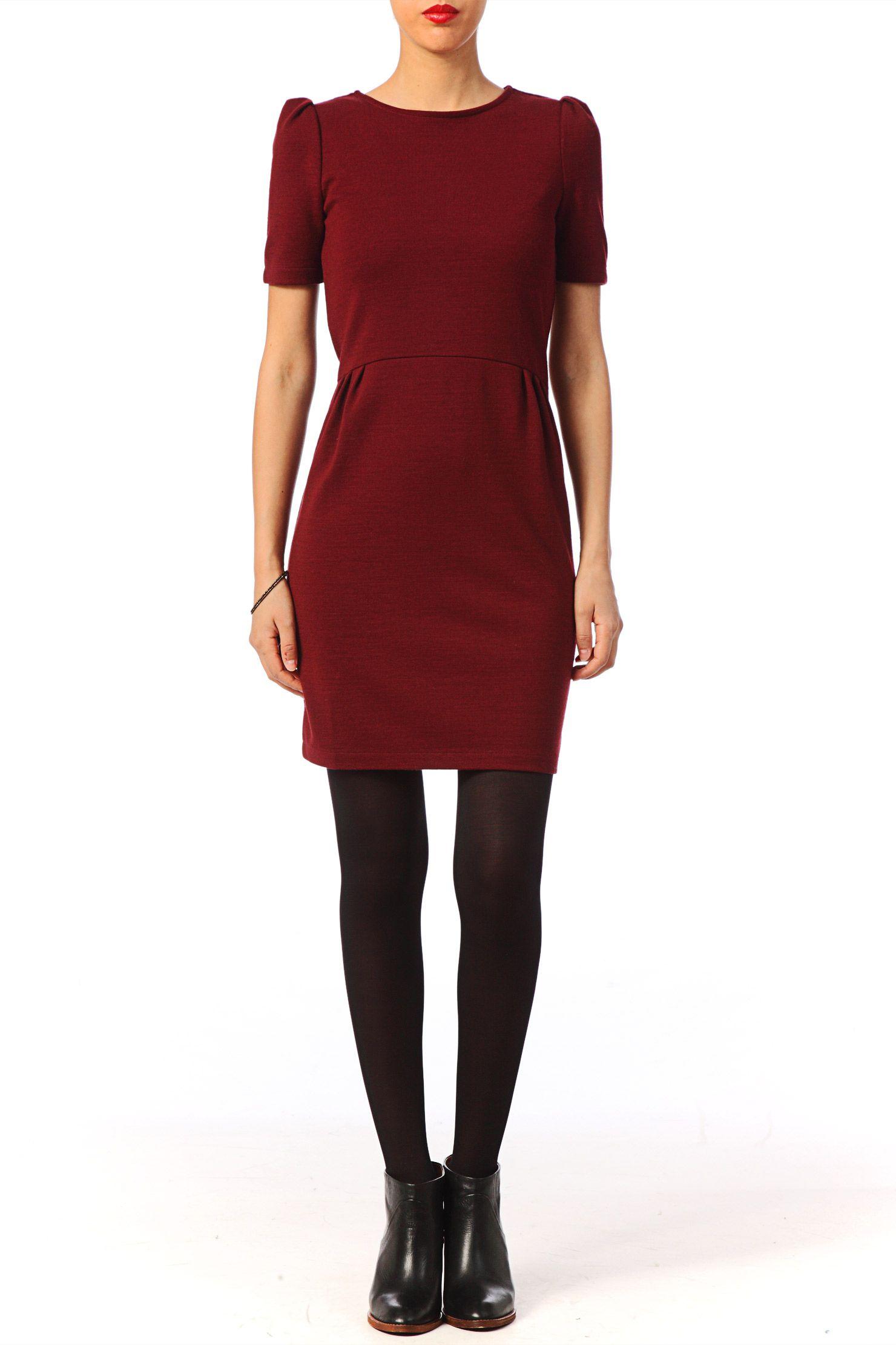 16924f44344 Robe droite en laine vierge Klein Rouge   Corail Sessun sur MonShowroom.com