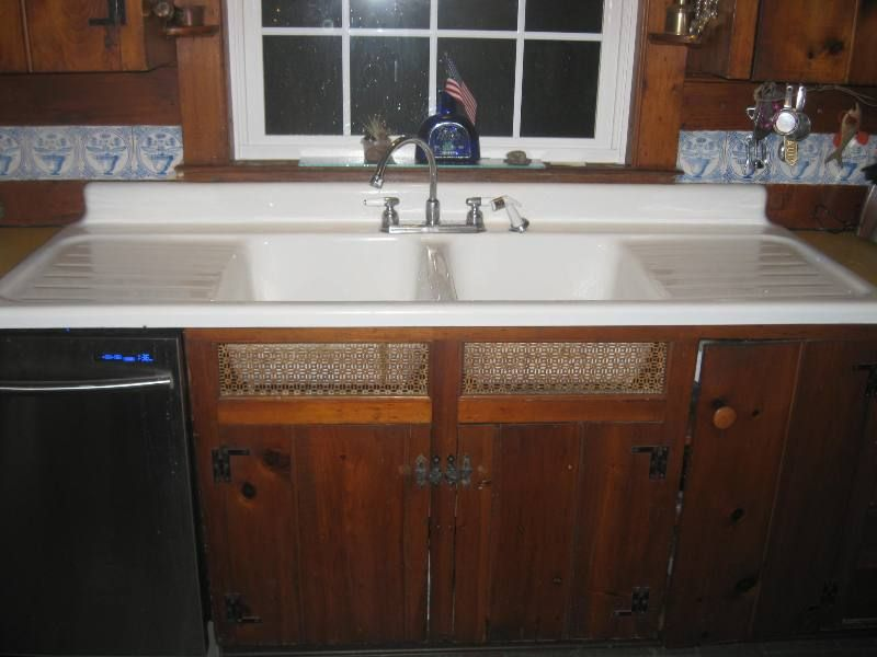 1948 Vintage Standard Sanitary Double Basin Double Drainboard Porcelain  Over Cast Iron Sink. Farmhouse ...