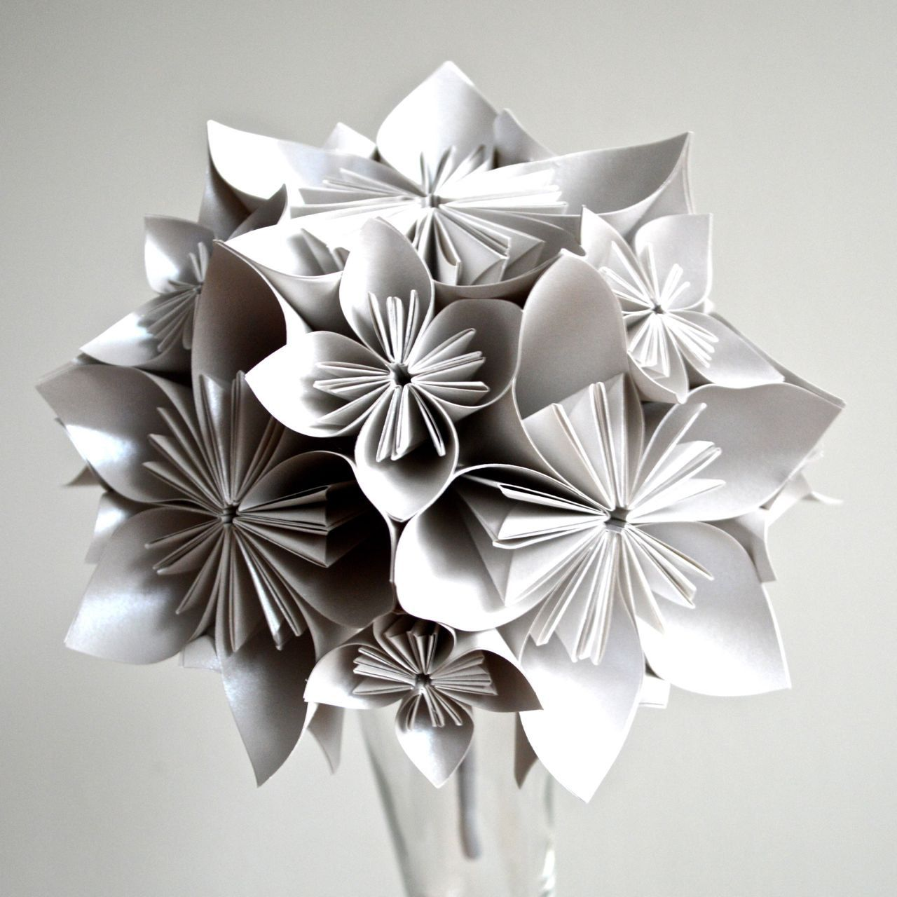 Silver Paper Origami Bouquet Silver Pinterest Paper Flowers