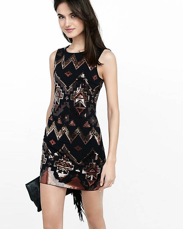 Embroidered lace shift dress express
