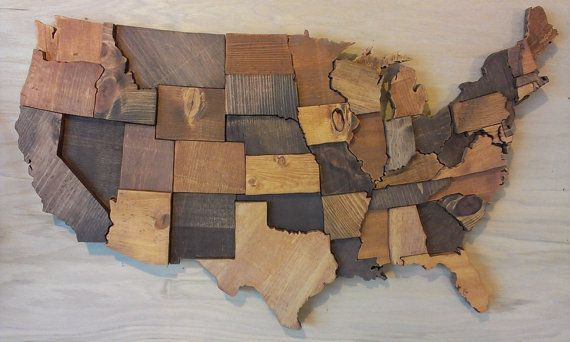 Contiguous USA map wall art wooden state art by WallArtWooden & Pin by Leah Rich on For the Home | Pinterest | Wood projects Cedar ...