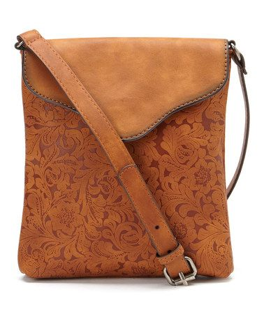Tan Embossed Envelope Crossbody Bag #zulily #zulilyfinds