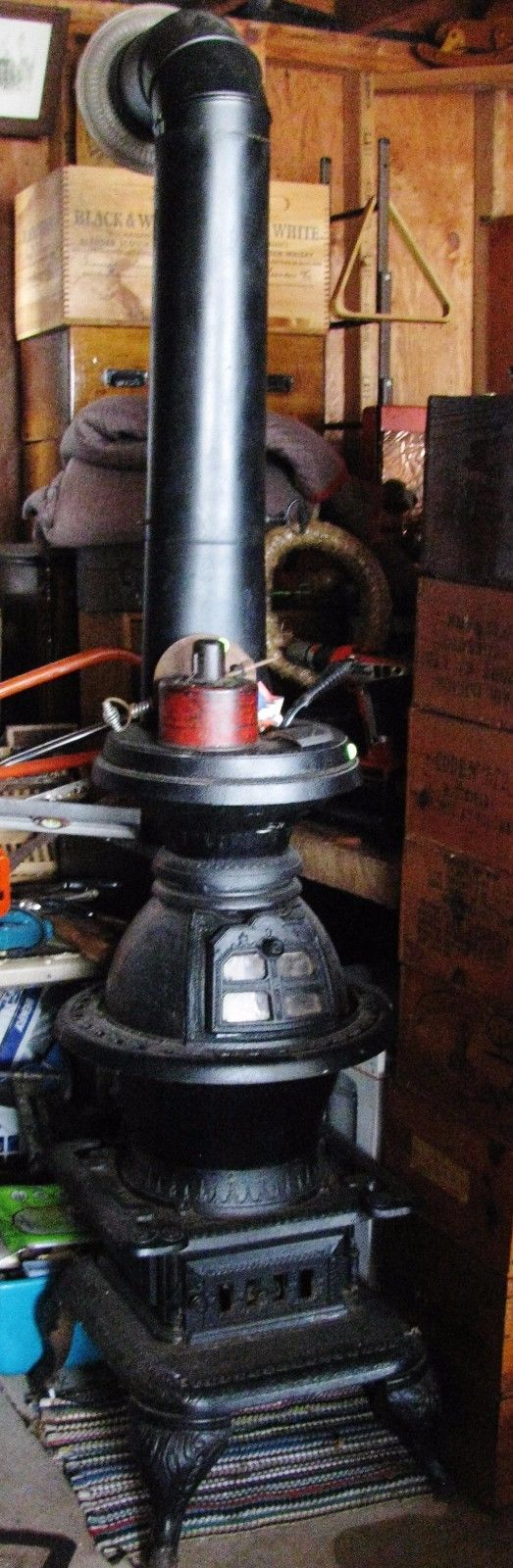 Globe Lighthouse Wood Burning, Cast Iron, Pot Belly STOVE / PIPES ...