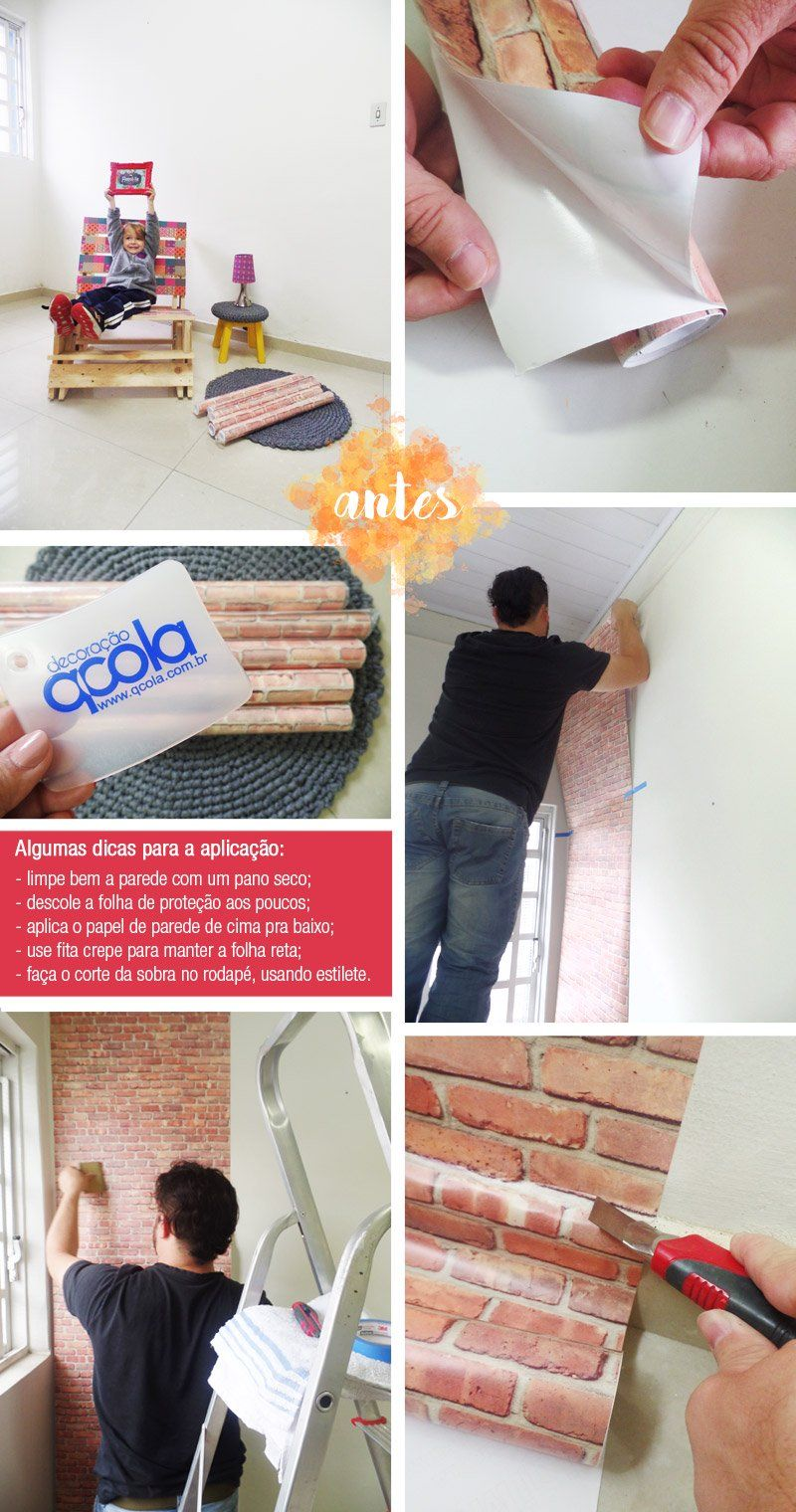 Parede de Tijolinhos com Papel de Parede Adesivo - http://comosefaz.eu/parede-de-tijolinhos-com-papel-de-parede-adesivo/