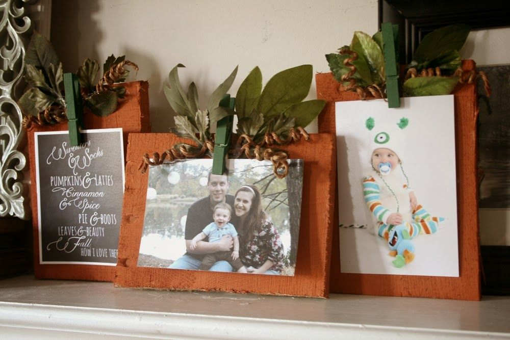 Pumpkin frames with clothespin stems by The NO Drama Mama