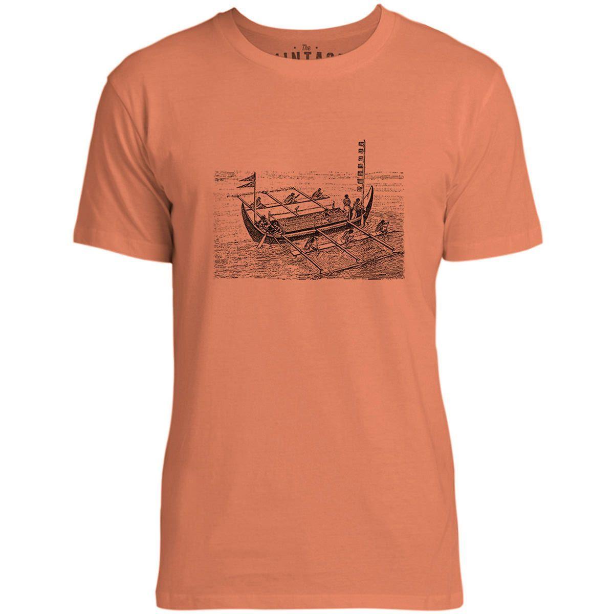 Mintage Vintage Victorian Boat Mens Fine Jersey T-Shirt (Coral)