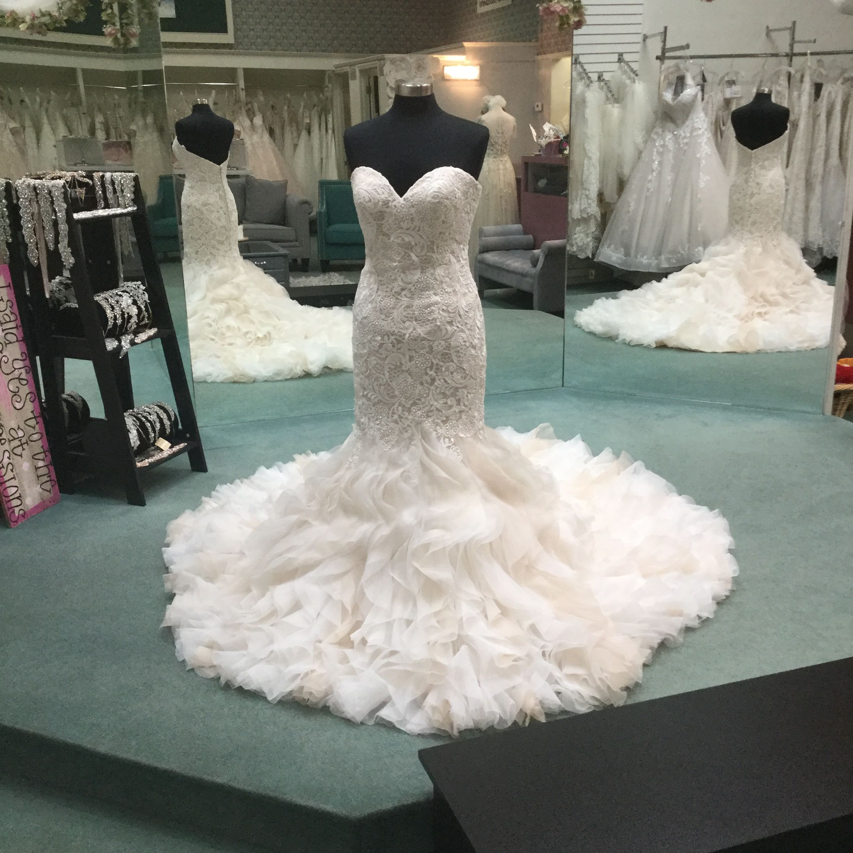 Ruffles And Lace Mermaid Wedding Dress Wedding Dresses Ruffle Wedding Dress Strapless Wedding Gown [ 2448 x 2448 Pixel ]