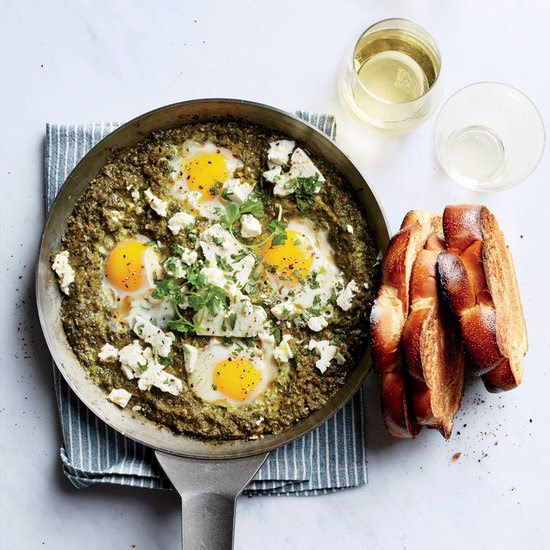 30 days of vegetarian recipes recipes to cook pinterest recipes this tangy and vibrant green shakshuka is made with tomatillos and spinach instead of the traditional red tomatoes get the recipes at food wine forumfinder Image collections