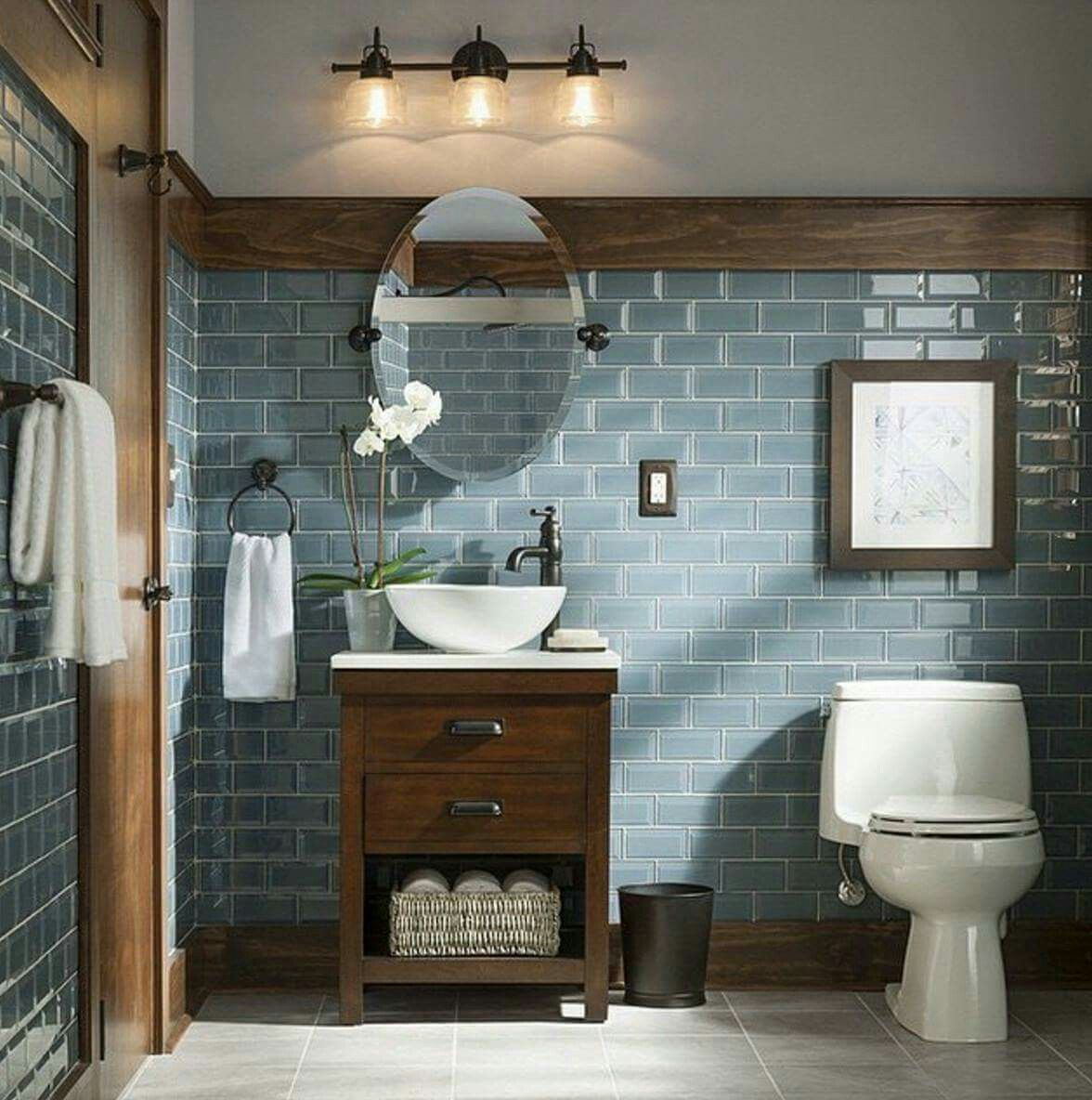 Rustic and Modern Bathroom Blue Grey Glass Tiles Bathroom