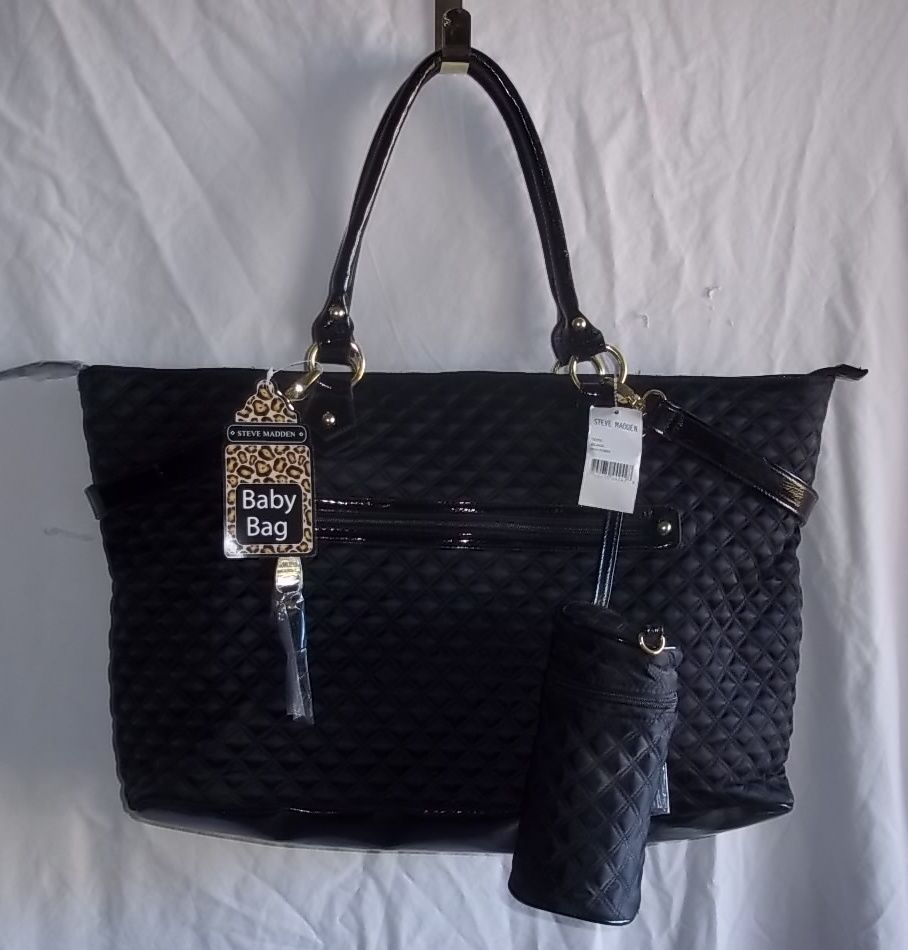 Steve Madden Black Quilted Baby Diaper Bag Nwt Tote Bottle